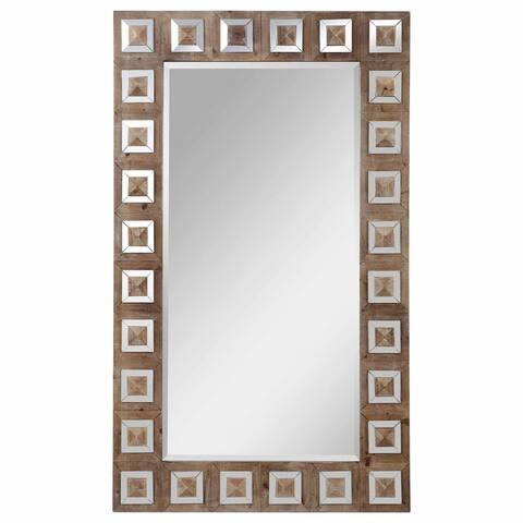 "Uttermost 09559 Anara 60"" x 36"" Rectangular Beveled Mirrored Glass and Wood Framed Full Length Mirror - Natural Wash"