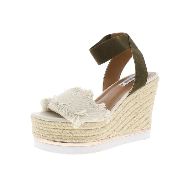 28151ae8e670 Shop Steve Madden Womens Venus Wedge Sandals Fringe Metallic Trim ...