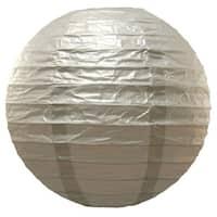 "Set of 5 Decorative Metallic Silver Colored Round Paper Lanterns 10"""