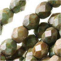 Czech Fire Polished Glass Beads 6mm Round Opaque Green Luster (25)