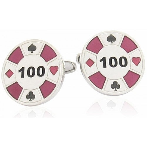Red Poker Chip Casino Game Gambling Cufflinks