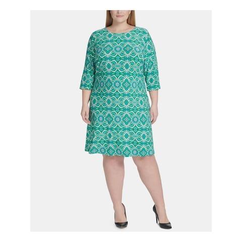TOMMY HILFIGER Green 3/4 Sleeve Knee Length Shift Dress Size 20W