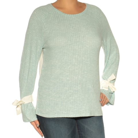 KENSIE Womens Aqua Long Sleeve Jewel Neck Top Size L