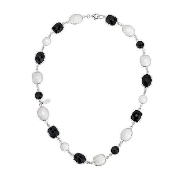 Zoccai 925 White Agate & Onyx Link Necklace in Sterling Silver