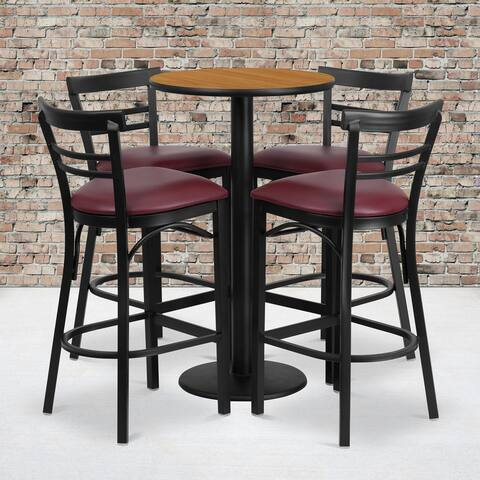 24'' Round Laminate Table Set with 4 Ladder Back Barstools