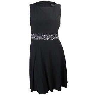 Onyx Nite Women's Beaded Waist Sleeveless Jersey Dress - Black
