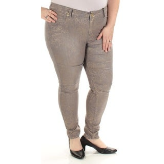 Womens Gold Gray Skinny Jeans Juniors Size 22
