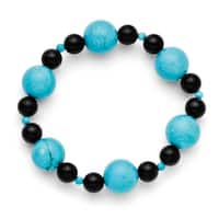 Chisel Black Agate & Dyed Howlite Turquoise Color Stretch Bracelet