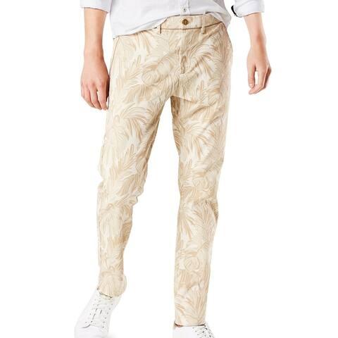 Dockers Mens Chino Pants Beige Size 38x30 Leaf Print Slim-Fit Stretch