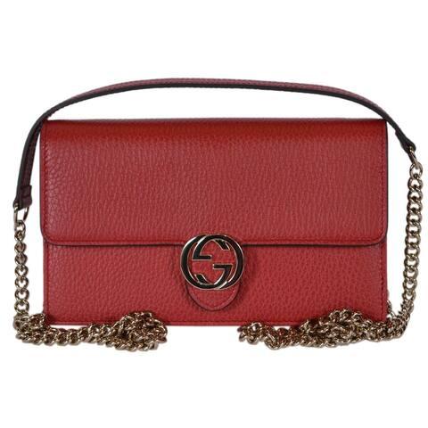 """Gucci 510314 Red Leather Interlocking GG Crossbody Wallet Bag Purse Clutch - 7.5"""" x 4.5"""" x 2"""""""