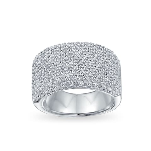 Wide Pave AAA CZ Anniversary Wedding Band Ring 925 Sterling Silver