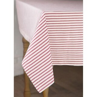 Heritage Lace 60 x 60 in. Ticking Square Tablecloth, Red & White