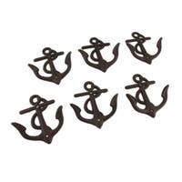Set of 6 Rust Colored Cast Iron Anchor Shaped Decorative Wall Hooks