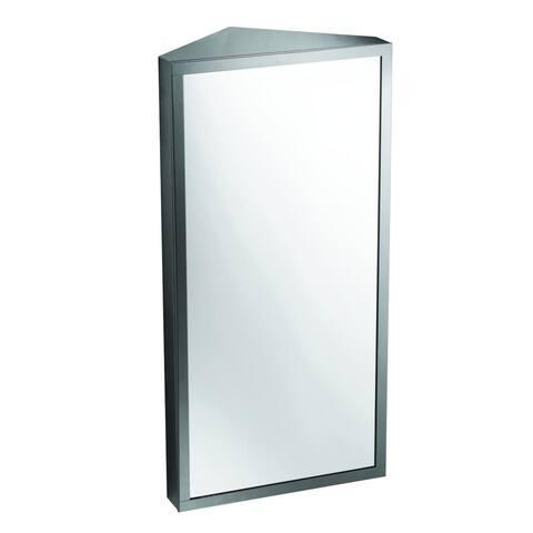 Corner Stainless Steel Mirror Medicine Cabinet Wallmount Three Shelves