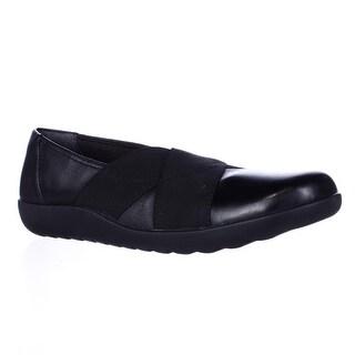 Clarks Medora Jem Cross Strap Flats - Black Leather