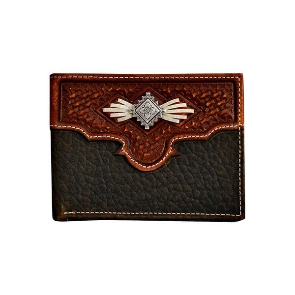 Nocona Western Wallet Men Bifold Laced Aztec Concho Med Brown - One size