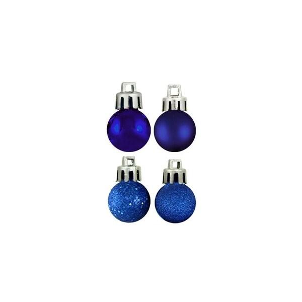 "96ct Shatterproof Royal Blue 4-Finish Christmas Ball Ornaments 1.5"" (40mm)"