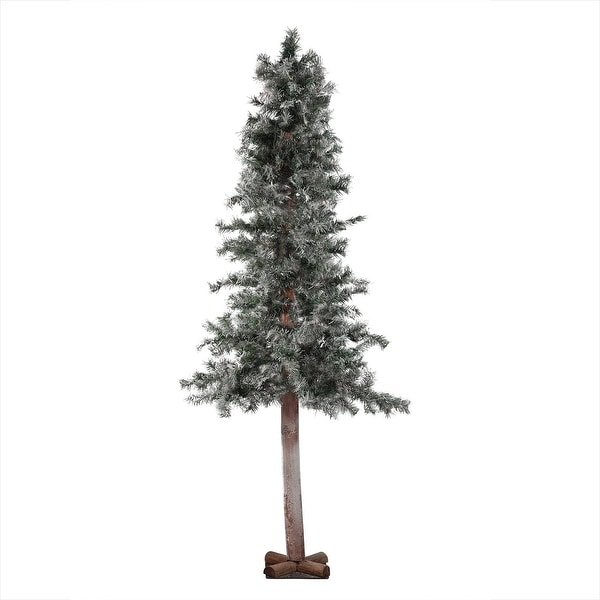 "7' x 40"" Frosted and Glittered Woodland Alpine Artificial Christmas Tree - Unlit - green"