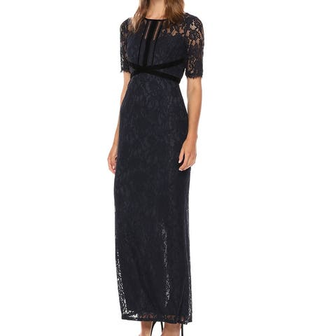 Adrianna Papell Women's Dress Blue Size 10 Laced Velvet Trim Gown