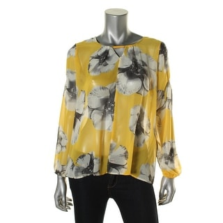 NY Collection Womens Sheer Floral Print Peasant Top - S