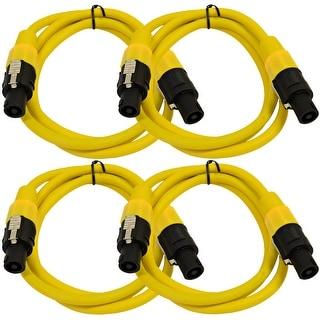 SEISMIC AUDIO 4 Pack of 12 Gauge 5' Yellow Speakon to Speakon Speaker Cables