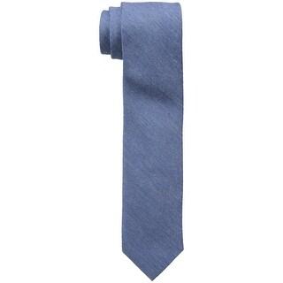 Calvin Klein NEW Blue Denim Gold Speckle Slim Skinny Viscose Neck Tie