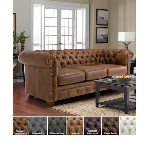 Hancock Tufted Top Grain Italian Leather Chesterfield Sofa