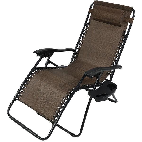 Sunnydaze Dark Brown Oversized Zero Gravity Lounge Chair