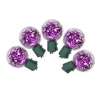 Set of 25 Purple LED G40 Tinsel Christmas Lights - Green Wire