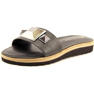 Trina Turk Calabasas Women Open Toe Leather Black Slides Sandal