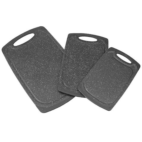 Home Basics 3 Pieces Non-Slip Plastic Cutting Board Set, Black
