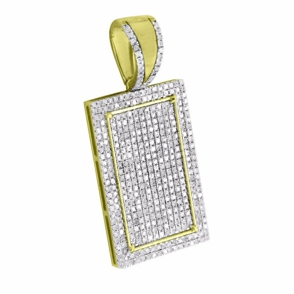 Rectangle Iced Out Pendant Genuine Diamonds 10k Yellow Gold Micro Pave 1.11 CT