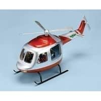 """17.75"""" Musical Lighted Rotating Chopper Helicopter Christmas Decoration - silver"""