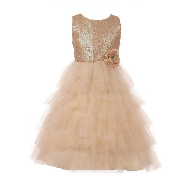 cb69928e0763 Shop Little Girls Nude Sequin Tulle Cascade Floral Corsage Flower Girl Dress  - Free Shipping Today - Overstock - 23462386
