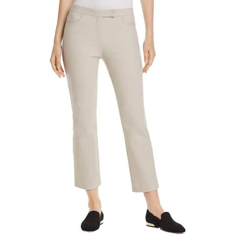 Theory Womens Cropped Pants Mid Rise Straight Leg - Light Putty