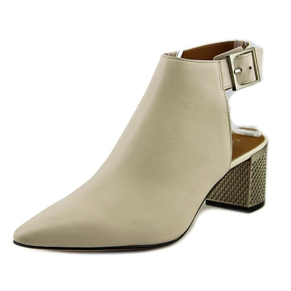 Calvin Klein Nylee Women Pointed Toe Leather Ivory Ankle Boot