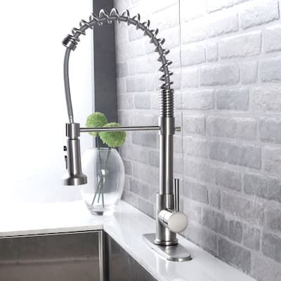 Brushed Nickel Pull Out Sprayer Single Handle Kitchen Faucet