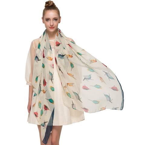 Elegant Women Bird Print Soft Long Scarf Wrap Shawl - 72 inches x 35 inches