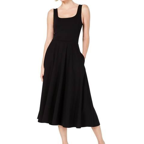 Alfani Women's Dress Black Size XL A-Line Square Neck Pocket Midi
