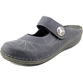Spring Step Yellowstone Women Round Toe Leather Black Mules