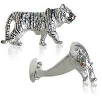 Tiger Cufflinks With Swarovski Elements Eyes Animal