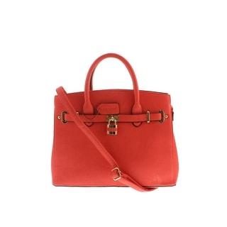 Dasein Womens Faux Leather Convertible Satchel Handbag - Tan - Large