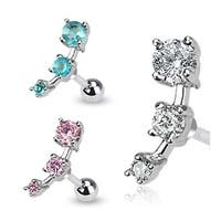 "Surgical Steel Triple CZ Droplet Tragus/Cartilage Piercing Stud- 16GA 1/4""Long (5mm Ball) (Sold Ind.)"
