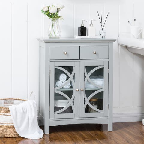 Glitzhome 32-INCH Gray Floor Cabinet with Double Doors and Drawer