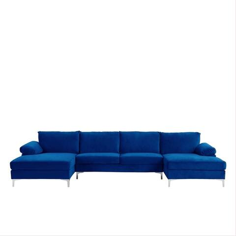 Modern XL Velvet Upholstery U-shaped Sectional Sofa