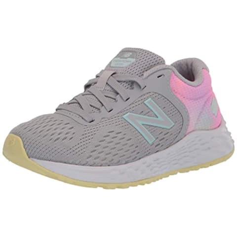 New Balance Girls Fresh Foam Arishi V2 Lace-up Running Shoe, Light Aluminum/Pink Lemonade