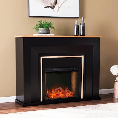 Strick & Bolton Cantara Industrial Black Wood Alexa Smart Fireplace