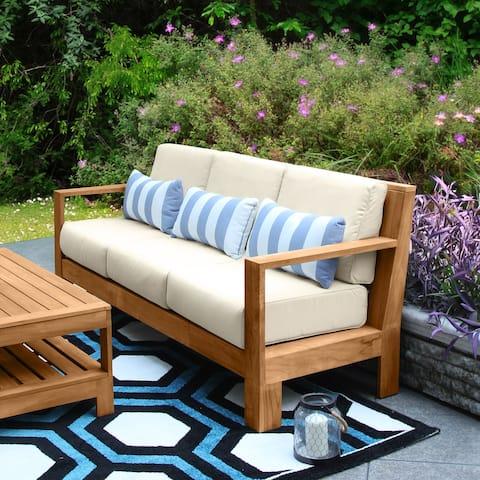 Cambridge Casual Logan Indonesian Teak Patio Sofa with Sunbrella Cushion
