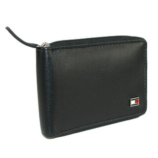 Tommy Hilfiger Men's Leather Oxford Slim Zip-Around Bifold Wallet - Black - One size