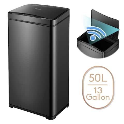 13 Gallon Automatic Trash Can Black Steel Touchless Motion Sensor Soft Close Lid 50L LED Timer, Large Capacity Compact Design